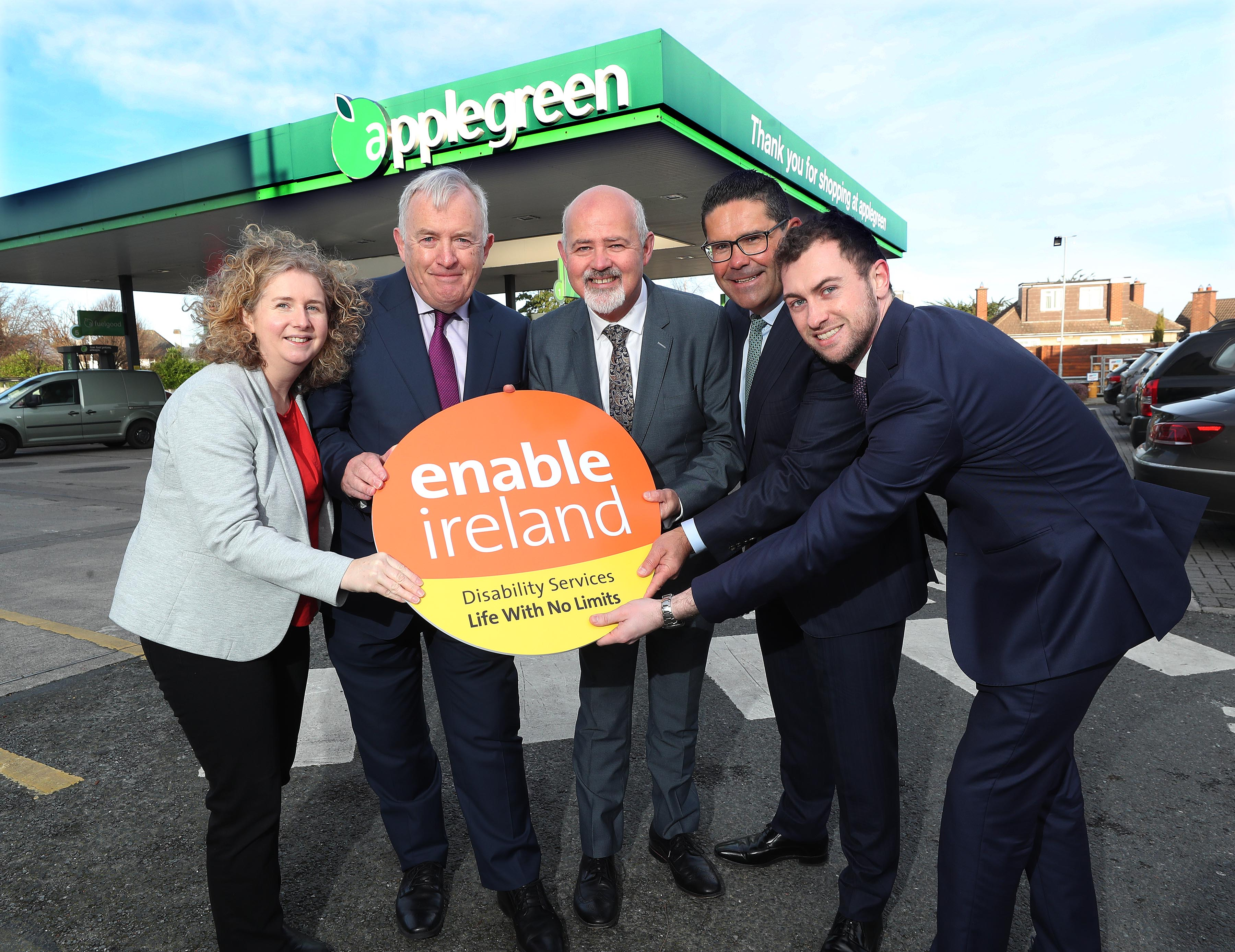Image shows people from Enable Ireland and Applegreen at the launch of the partnership