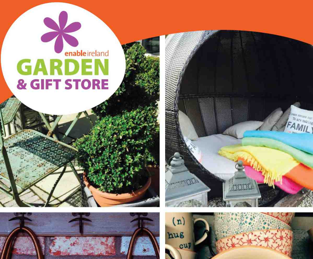 Garden and gift store logo and sample products