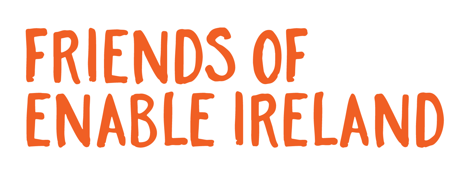 Orange lettering saying Friends of Enable Ireland
