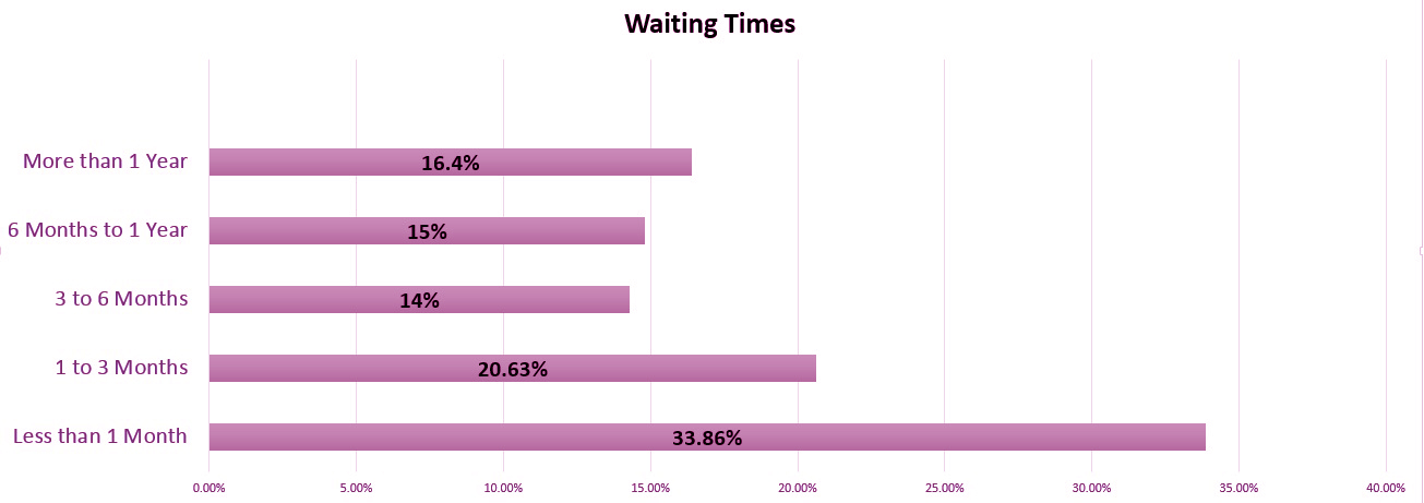 bar chart illustrating waiting times. stats in text above