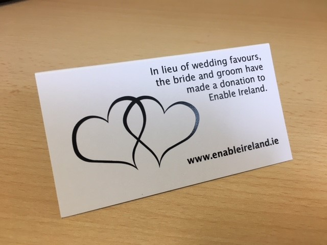 Wedding favour tent card