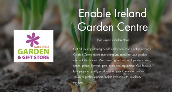 Image shows teh Enable Ireland Garden Centre logo and a picture of some onion plants, as well as some text welcoming people to the garden centre.