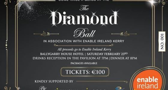 black ticket with silver writing and enable ireland logo