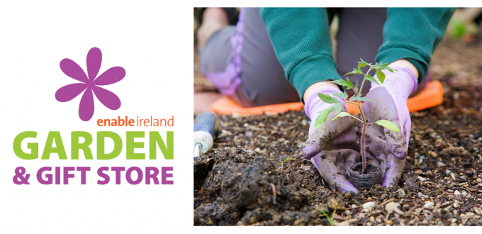 Enable Ireland Garden Centre logo and image of person planting