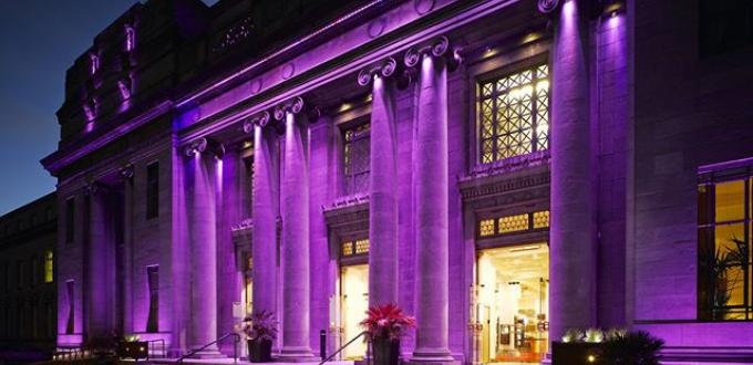 National Concert Hall in purple light