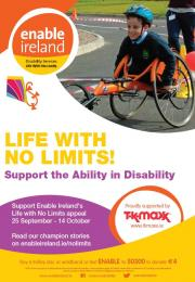 image of a poster with text Life with No Limits and boy in sports wheelchair